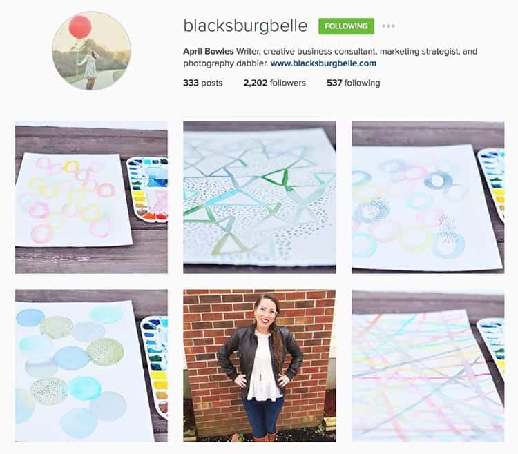 Instagram accounts with strong branded images: blacksburgbelle