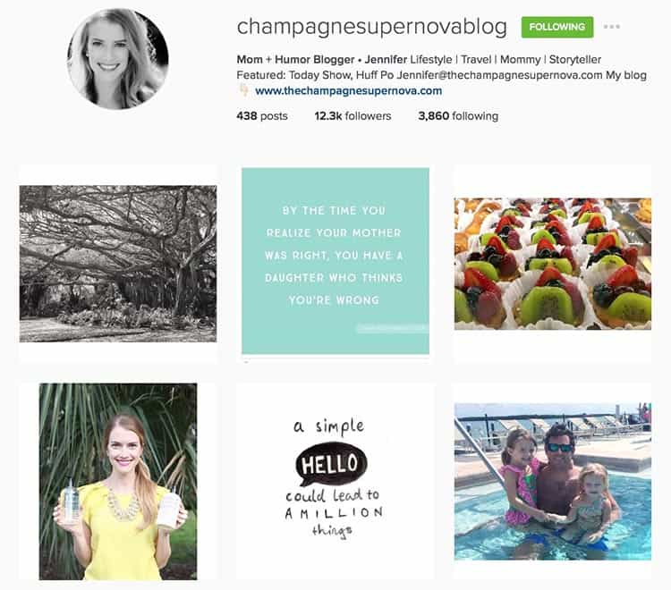 Champagnesupernovablog does a great job of mixing personal and quotes on Instagram