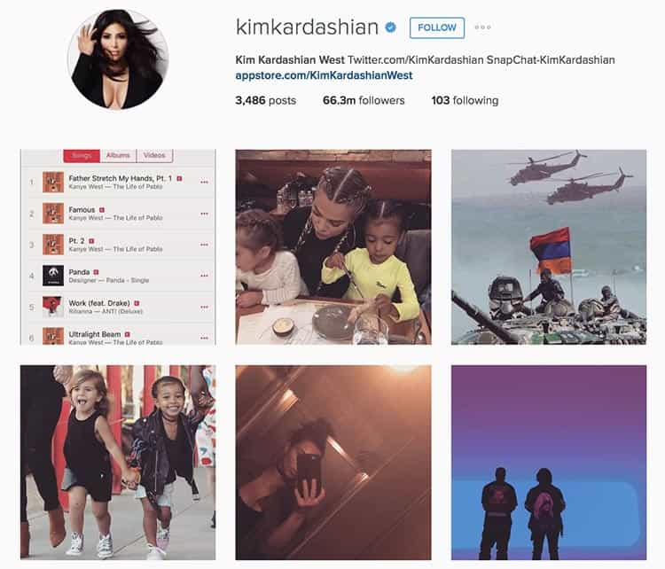 Kim Kardashian shares everything on Instagram