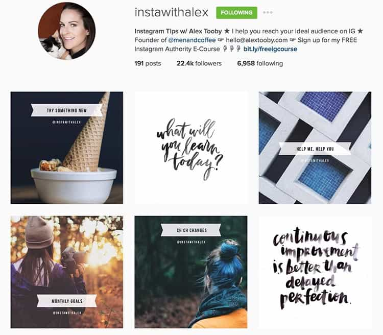 Instawithalex provides a lot of value to her followers by sharing Instagram tips and news.