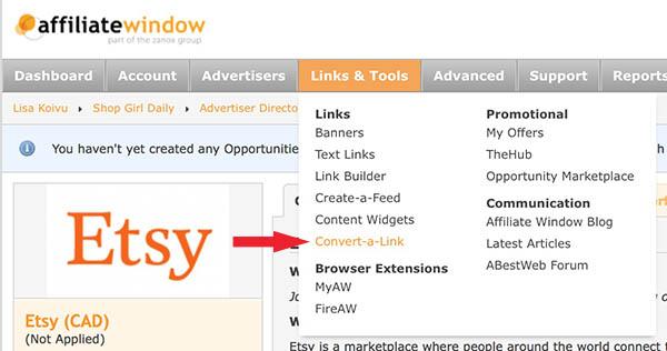 Affiliate Window Convert a Link Tool