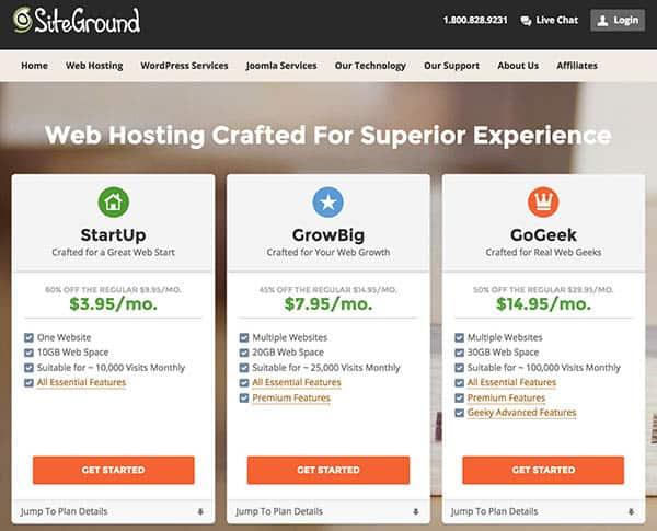 Set up a new wordpress blog with SiteGround: Choose a hosting plan