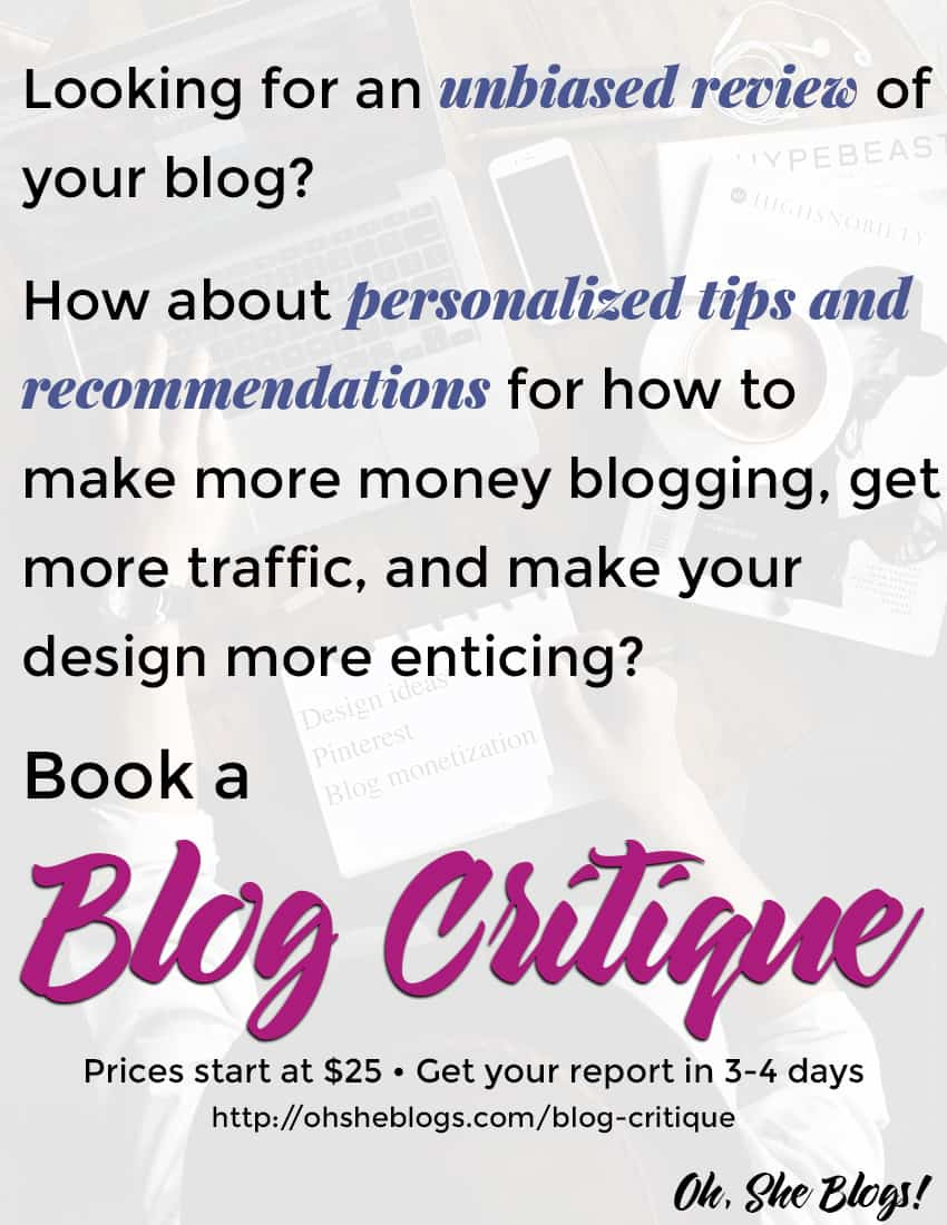 Book a Blog Critique with Lisa Koivu from Oh, She Blogs!
