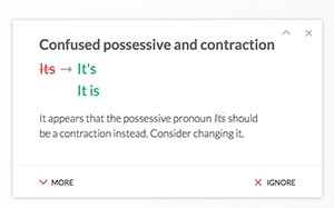Fixing grammatical errors using Grammarly