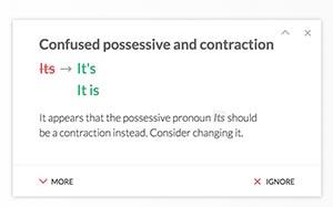 Fixing grammatical errors using Grammarly