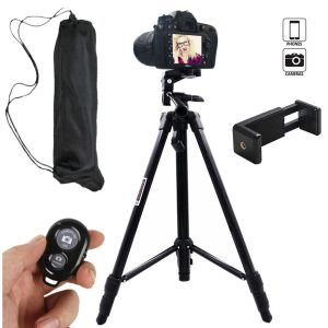 Cell phone tripod and remote