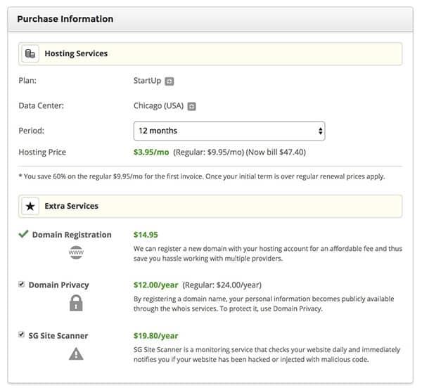 Registering for SiteGround