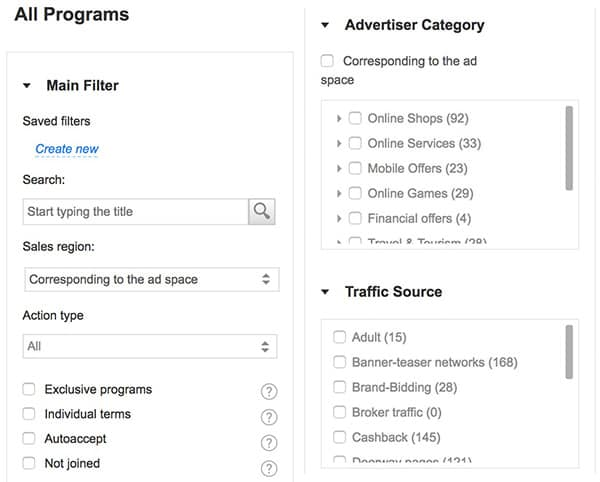 Choosing partners from the admitad interface