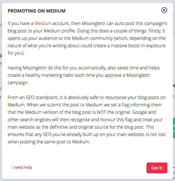 MissingLettr posts to Medium