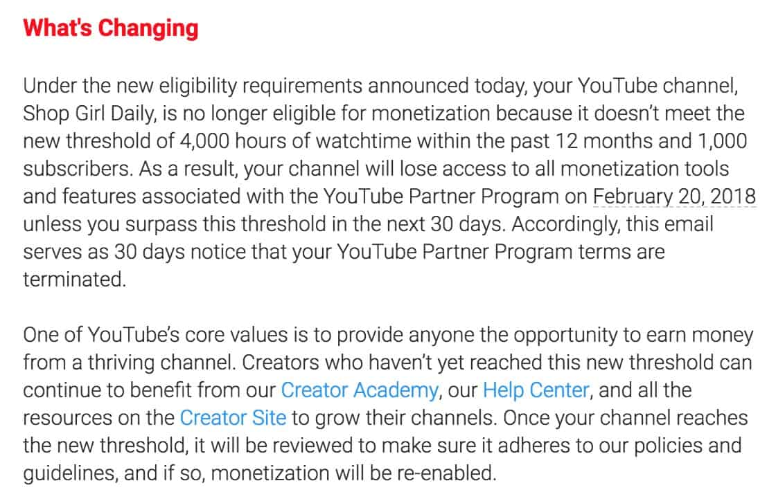 Letter detailing upcoming YouTube changes