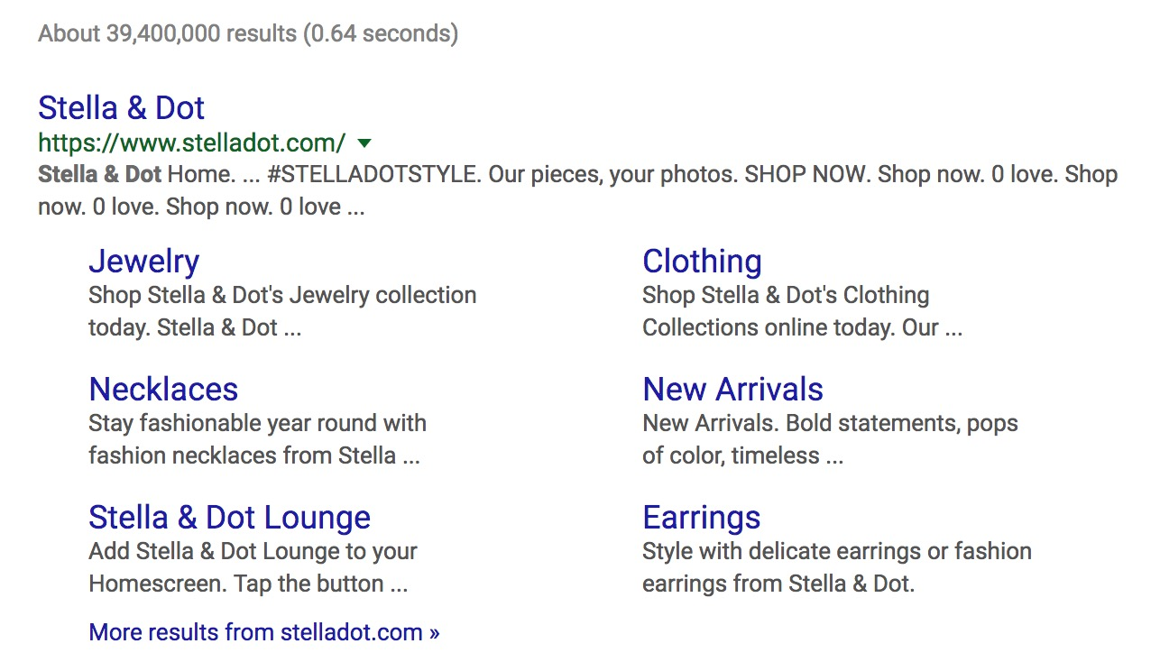 Stella & Dot search on Google