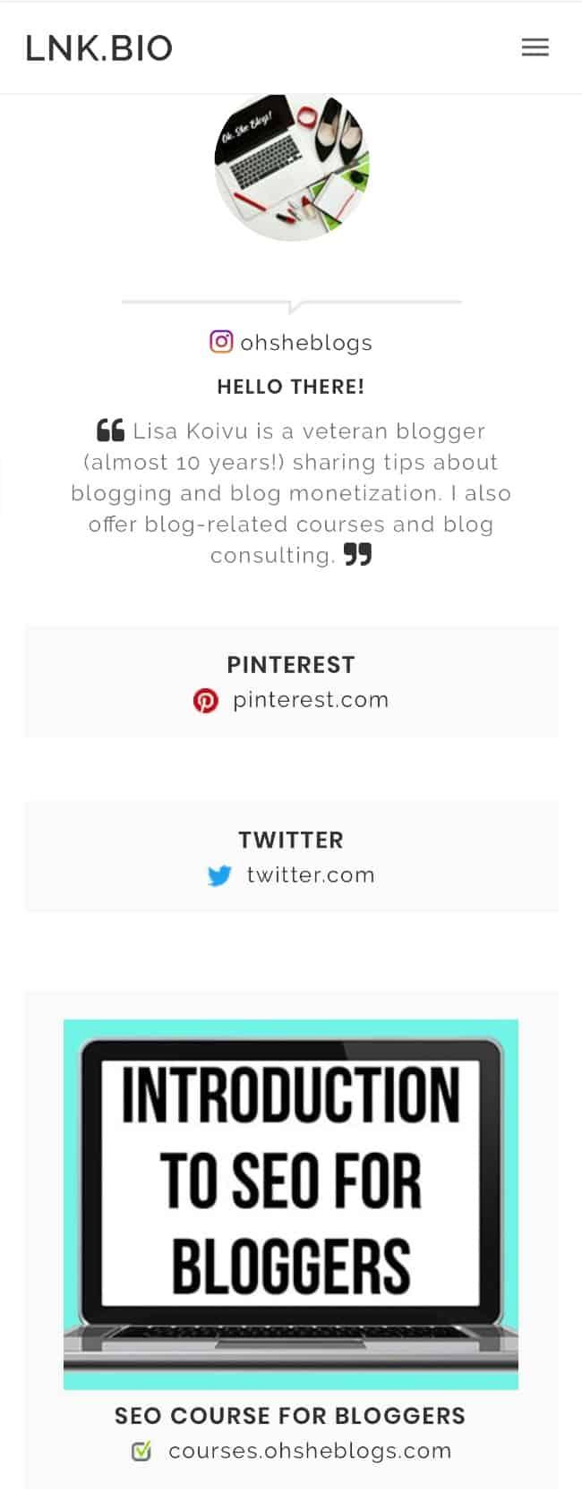 Linktree alternatives: lnk.bio