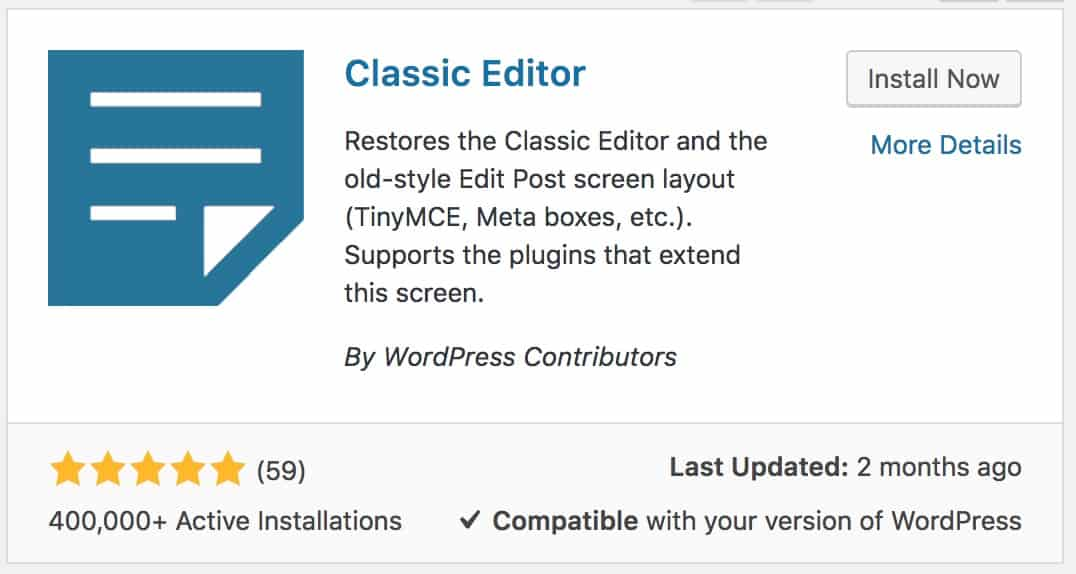 Classic Editor plugin for WordPress